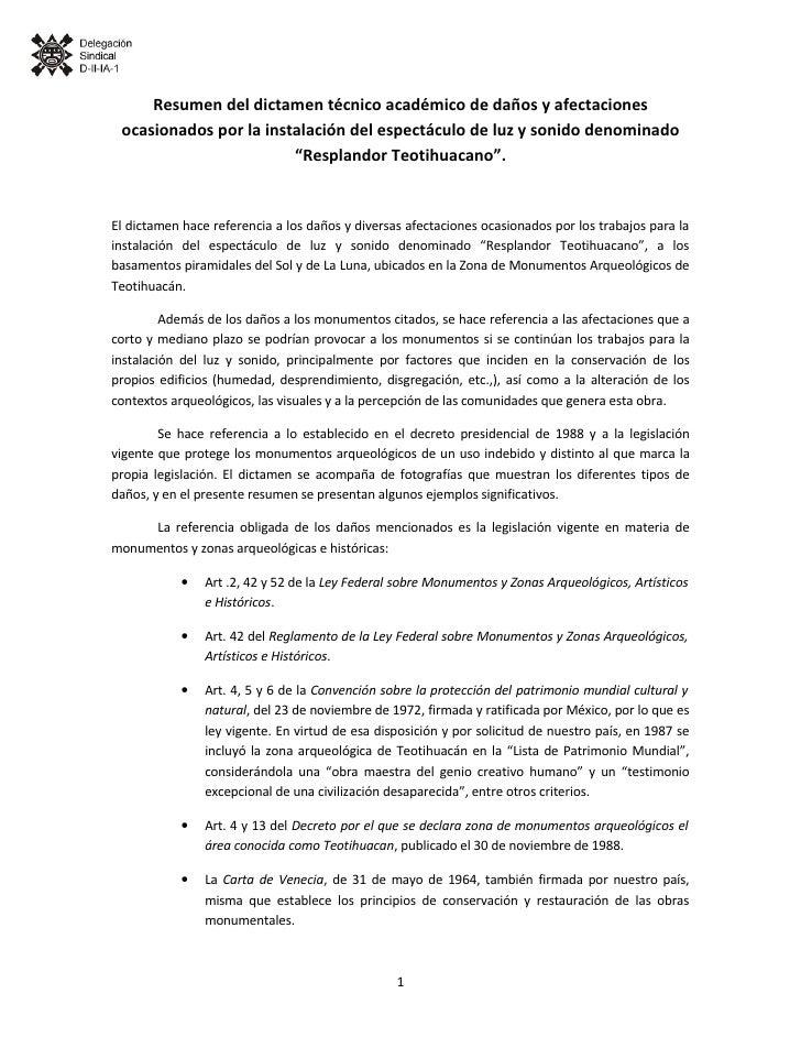 Resumen Dictamen DañOs En Teotihuacan
