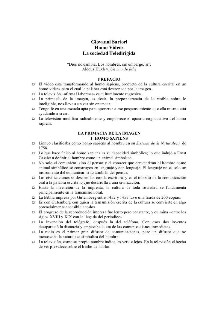 Giovanni Sartori                               Homo Videns                          La sociedad Teledirigida              ...