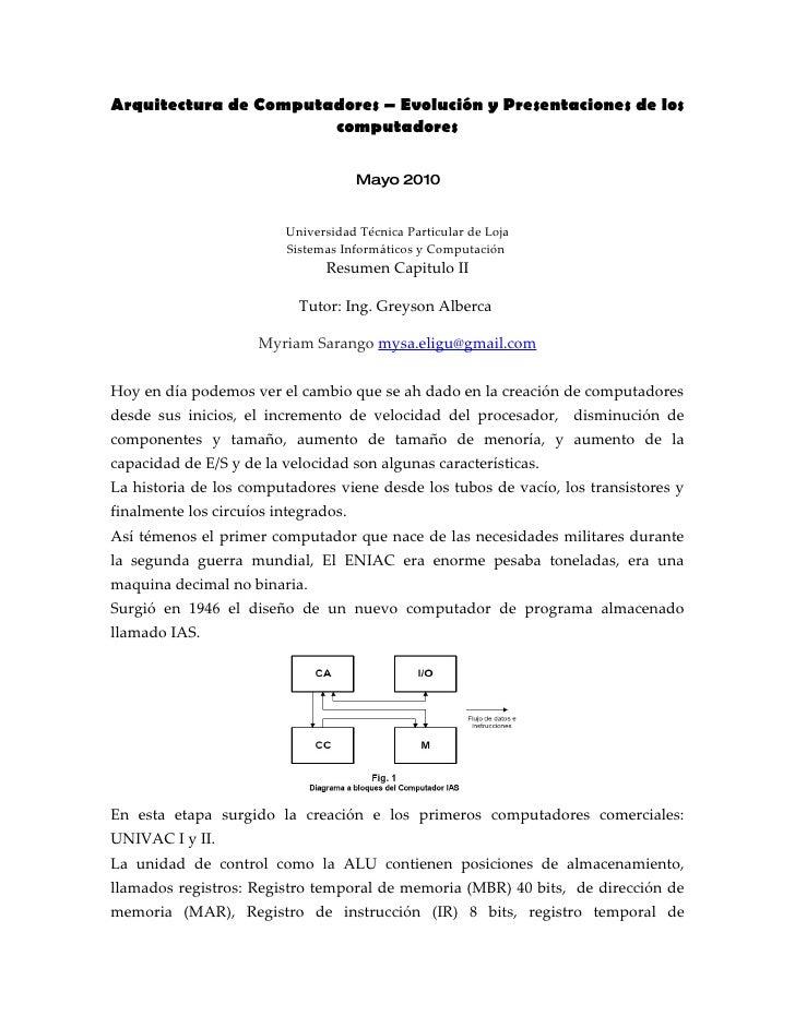 Arquitectura de Computadores – Evolución y Presentaciones de los                        computadores                      ...