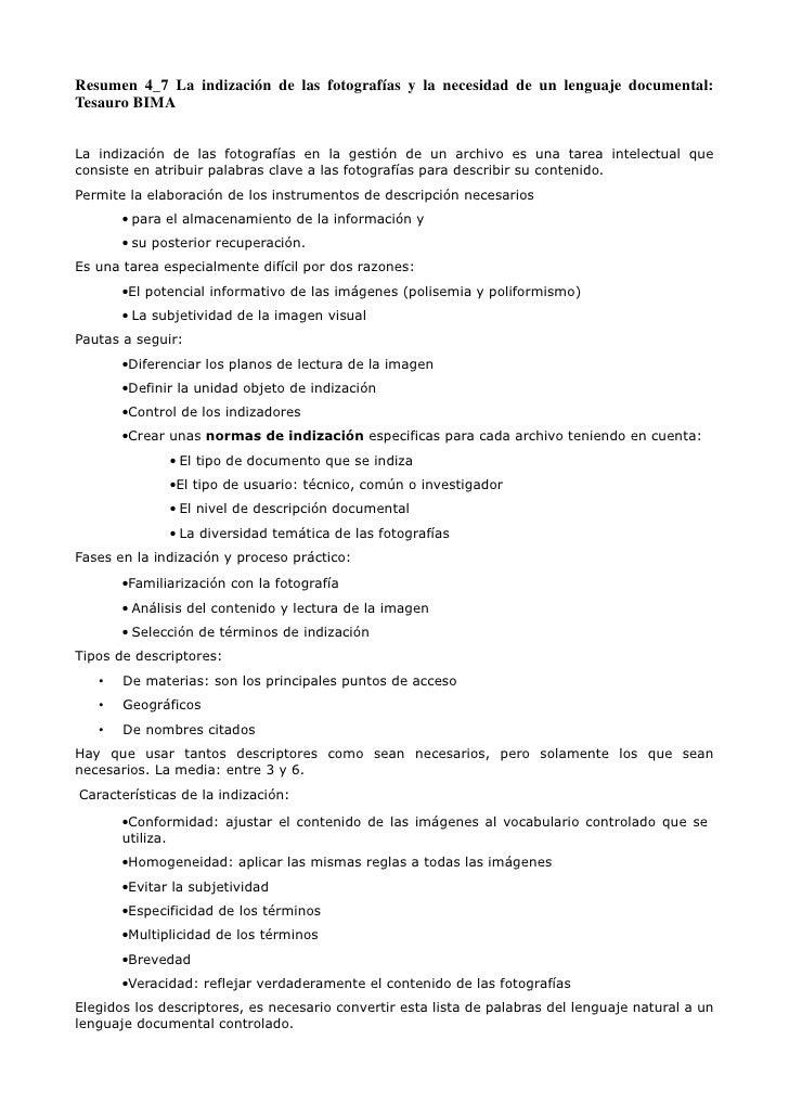 Resumen 4_7 La indización de las fotografías y la necesidad de un lenguaje documental:Tesauro BIMALa indización de las fot...