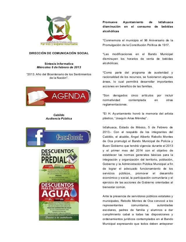 Promueve    Ayuntamiento de Ixtlahuaca                                                  disminución en el consumo de bebid...