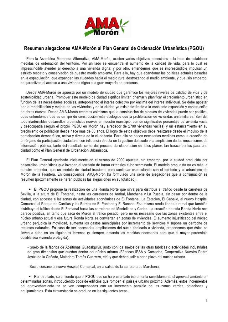 Resumen alegaciones AMA-Morón al Plan General de Ordenación Urbanística (PGOU)     Para la Asamblea Moronera Alternativa, ...