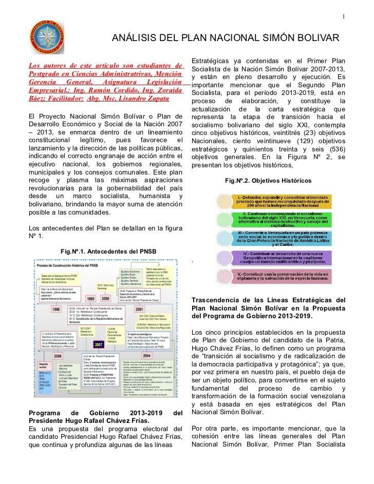 Resumen análisis plan nacional simón bolívar