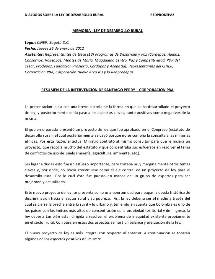 DIÁLOGOS SOBRE LA LEY DE DESARROLLO RURAL                                  REDPRODEPAZ                            MEMORIA ...