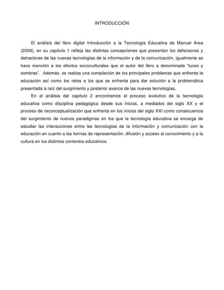 breve resumen libro tecnologica educativa manuel area
