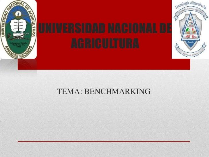 UNIVERSIDAD NACIONAL DE     AGRICULTURA   TEMA: BENCHMARKING