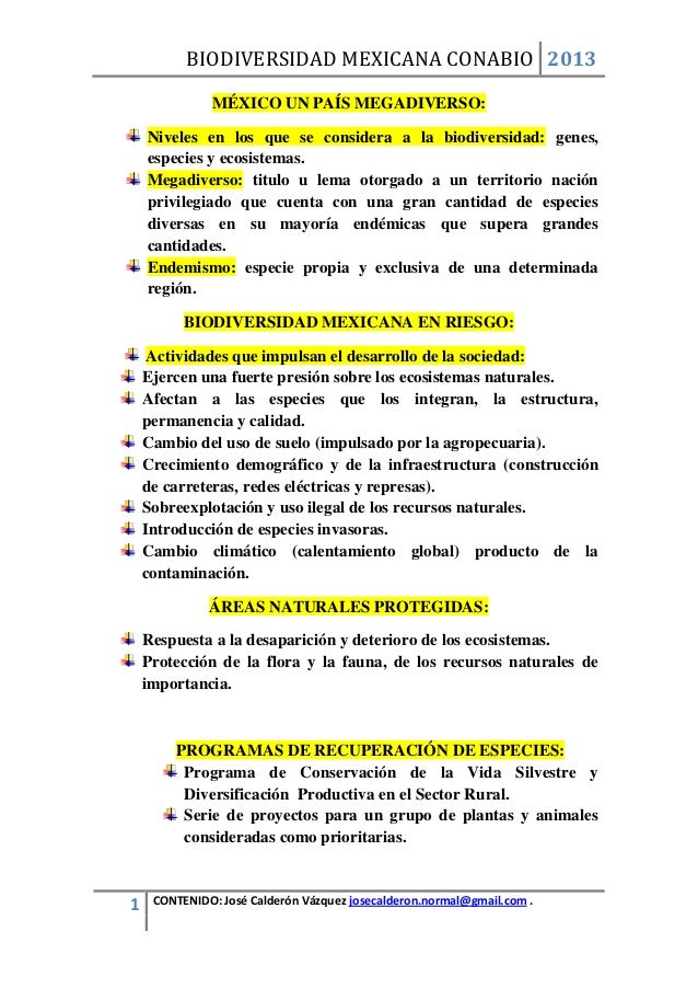BIODIVERSIDAD MEXICANA CONABIO 2013              MÉXICO UN PAÍS MEGADIVERSO:    Niveles en los que se considera a la biodi...