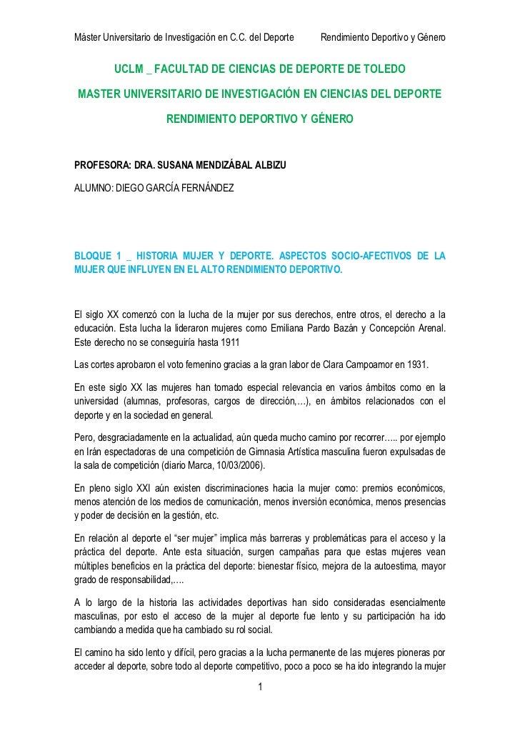 Máster Universitario de Investigación en C.C. del Deporte       Rendimiento Deportivo y Género          UCLM _ FACULTAD DE...