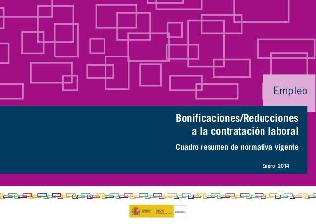 Empleo Bonificaciones/Reducciones a la contratación laboral Cuadro resumen de normativa vigente Enero 2014