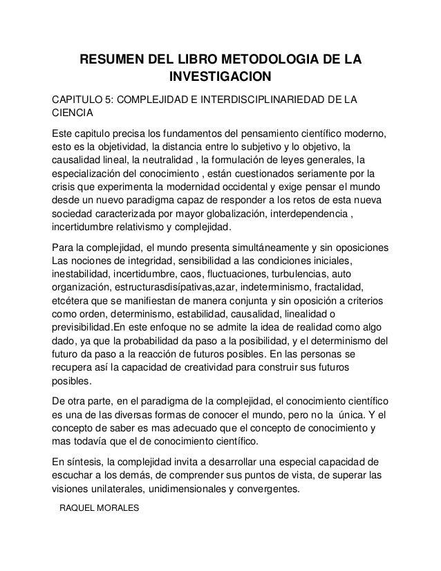 resumen capitulo 5 de metodologia de la investigacion