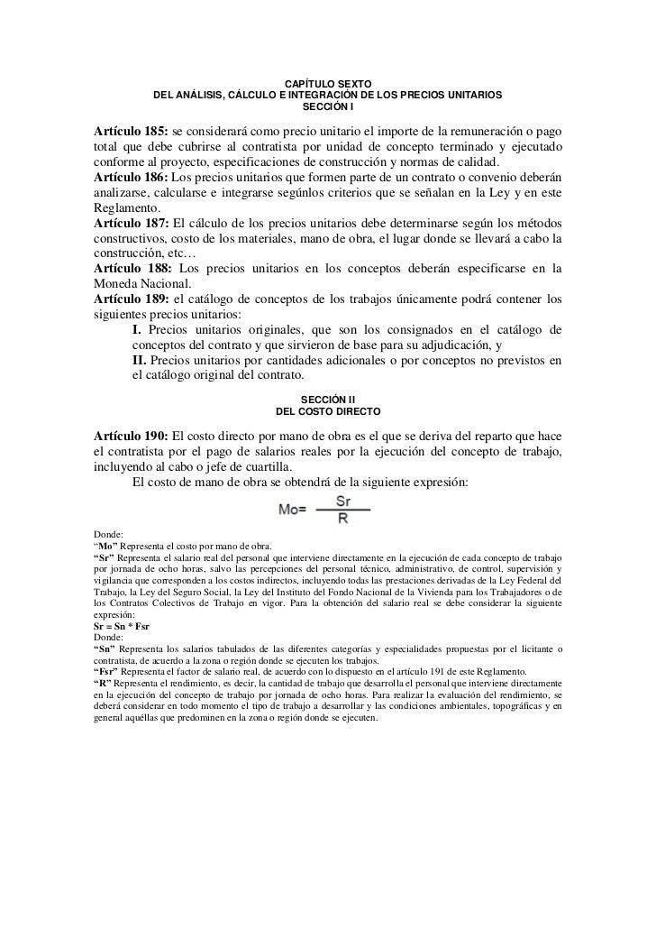 CAPÍTULO SEXTO               DEL ANÁLISIS, CÁLCULO E INTEGRACIÓN DE LOS PRECIOS UNITARIOS                                 ...