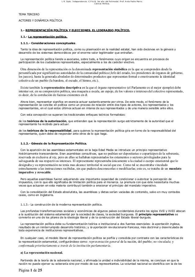 L R. Dpto. Independencia. C.P.A.B. 3er año del Polimodal. Prof. Avila Pablo Mario.Ciencia Política.TEMA TERCEROACTORES Y D...
