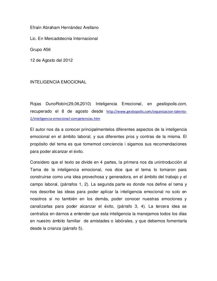 Efraín Abraham Hernández ArellanoLic. En Mercadotecnia InternacionalGrupo A5612 de Agosto del 2012INTELIGENCIA EMOCIONALRo...