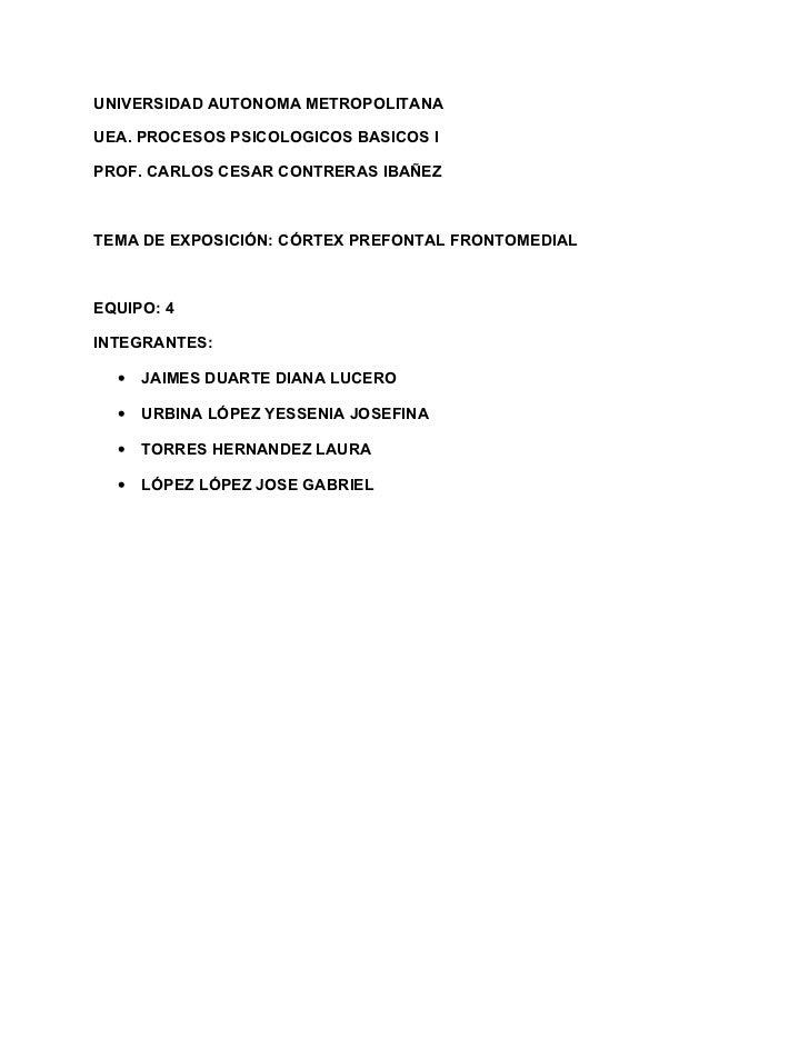 UNIVERSIDAD AUTONOMA METROPOLITANAUEA. PROCESOS PSICOLOGICOS BASICOS IPROF. CARLOS CESAR CONTRERAS IBAÑEZTEMA DE EXPOSICIÓ...