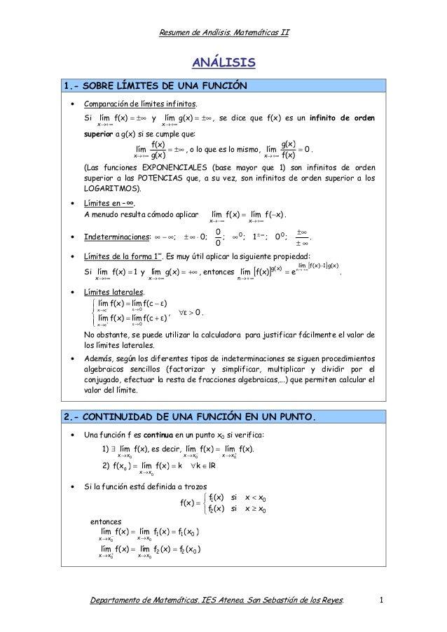 Resumen de Análisis. Matemáticas II  ANÁLISIS 1.- SOBRE LÍMITES DE UNA FUNCIÓN •  Comparación de límites infinitos. Si  lí...