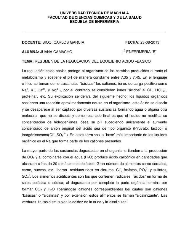 UNIVERSIDAD TECNICA DE MACHALA FACULTAD DE CIENCIAS QUIMICAS Y DE LA SALUD ESCUELA DE ENFERMERIA _ DOCENTE: BIOQ. CARLOS G...