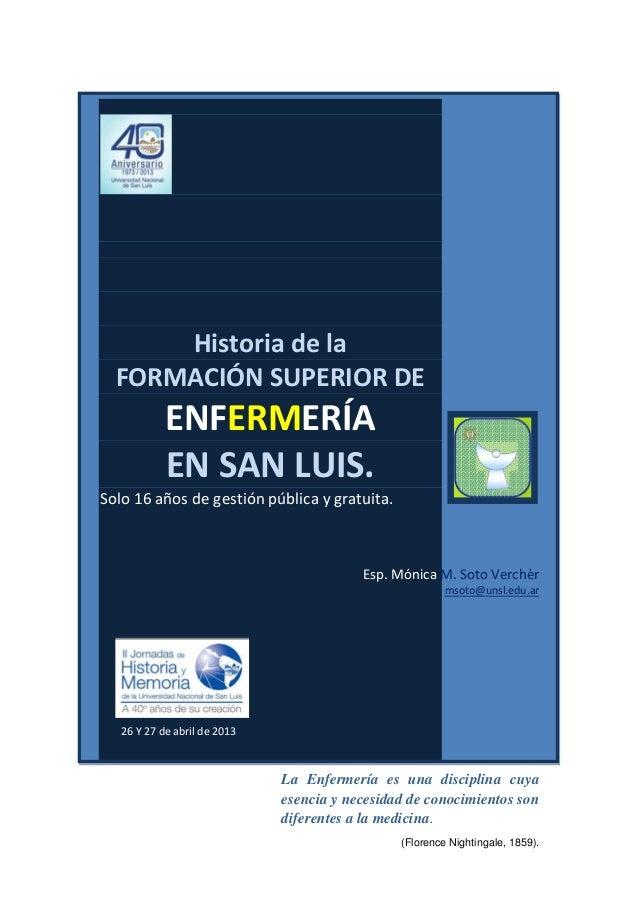 Historia de la formacion superior de enfermeria en san luis resumen