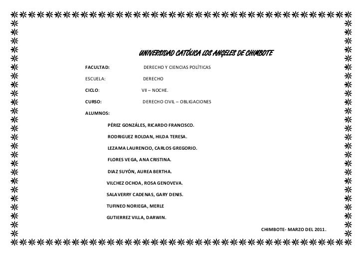 UNIVERSIDAD CATÓLICA LOS ANGELES DE CHIMBOTE<br />FACULTAD:                             DERECHO Y CIENCIAS POLÍTICAS<br />...