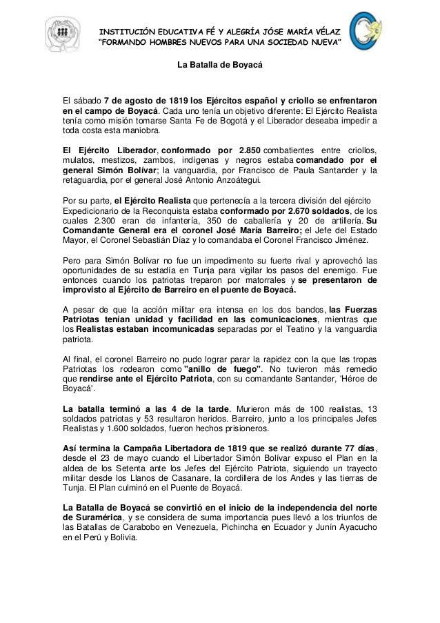 """INSTITUCIÓN EDUCATIVA FÉ Y ALEGRÍA JÓSE MARÍA VÉLAZ""""FORMANDO HOMBRES NUEVOS PARA UNA SOCIEDAD NUEVA""""La Batalla de BoyacáEl..."""