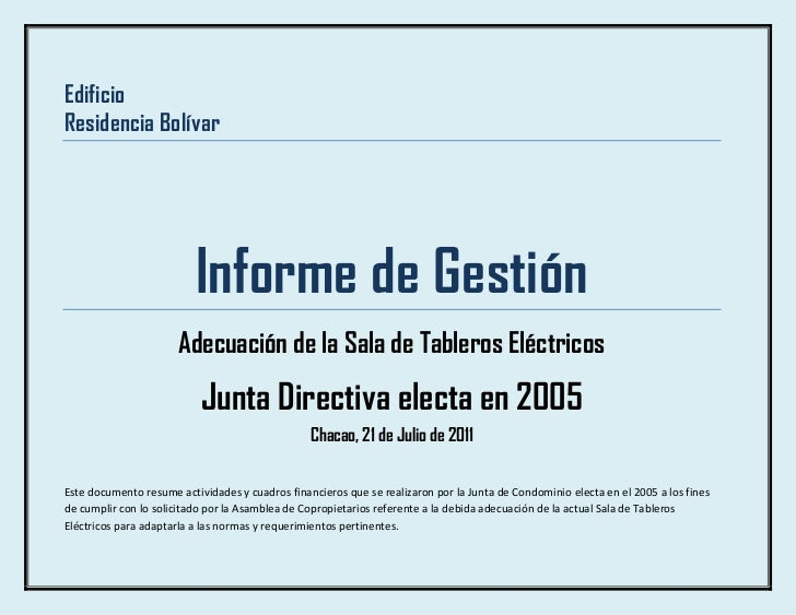 Edificio<br />Residencia Bolívar<br />Informe de Gestión<br />Adecuación de la Sala de Tableros Eléctricos<br />Junta Dire...