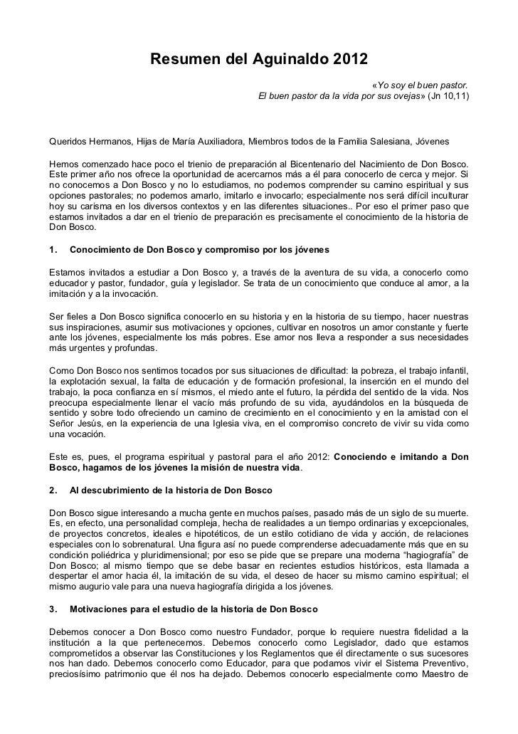 Resumen del Aguinaldo Salesiano 2012