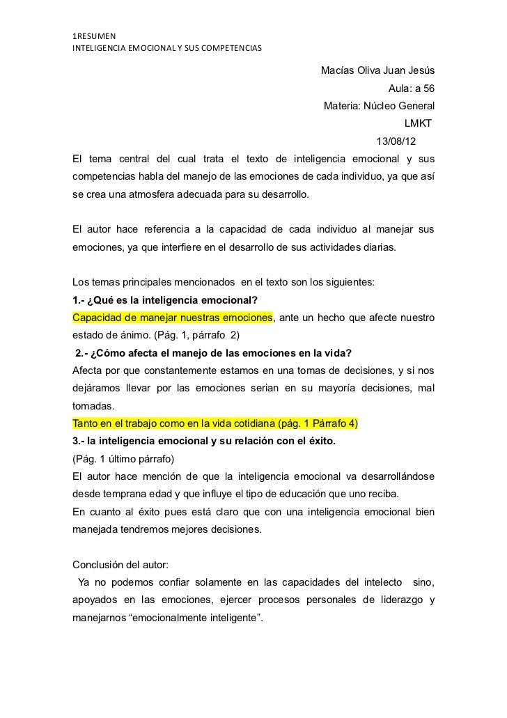 1RESUMENINTELIGENCIA EMOCIONAL Y SUS COMPETENCIAS                                                        Macías Oliva Juan...