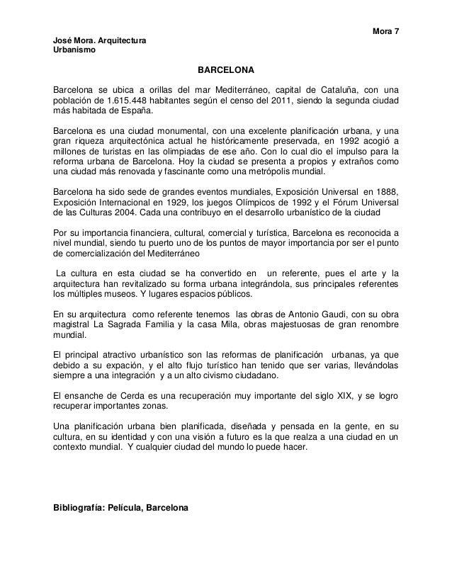 Mora 7José Mora. ArquitecturaUrbanismo                                     BARCELONABarcelona se ubica a orillas del mar M...