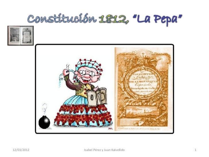 """Constitución 1812, """"La Pepa"""""""