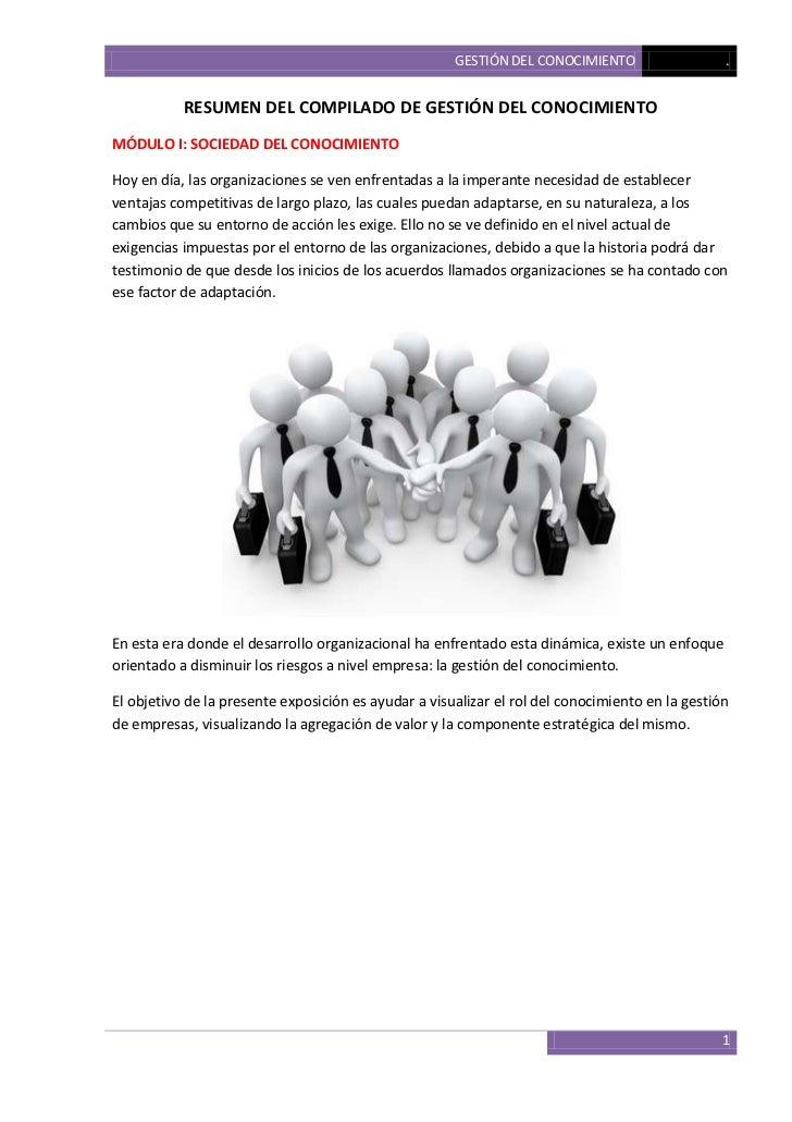 Resumen del compilado de gestión del conocimiento