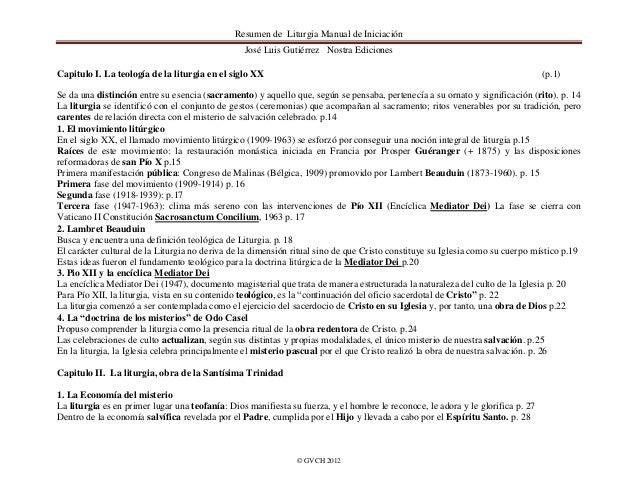 Resumen de Liturgia Manual de Iniciación                                                 José Luis Gutiérrez Nostra Edicio...