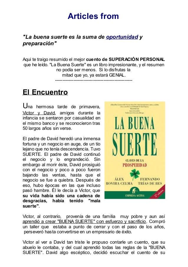 Resumen del libro la buena suerte - Para la buena suerte ...