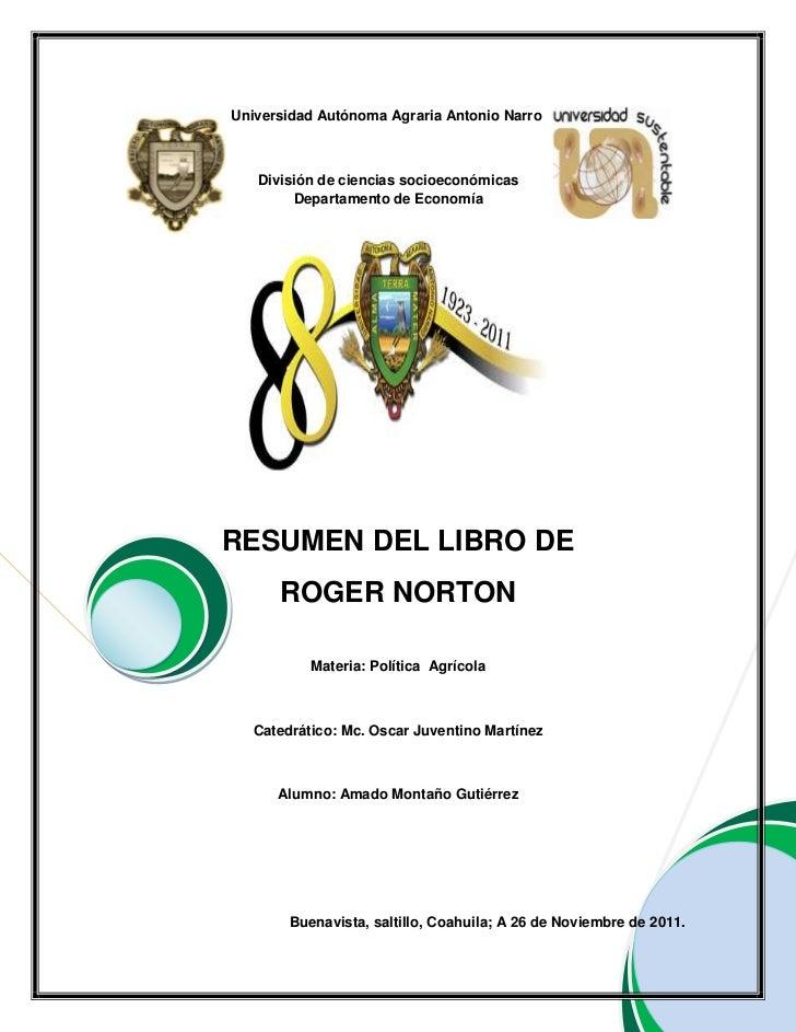 Resumen del libro de roger norton elaborado por amado montaño gutierrez