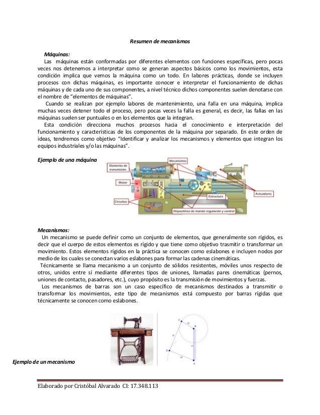 Elaborado por Cristóbal Alvarado CI: 17.348.113 Resumen de mecanismos Máquinas: Las máquinas están conformadas por diferen...