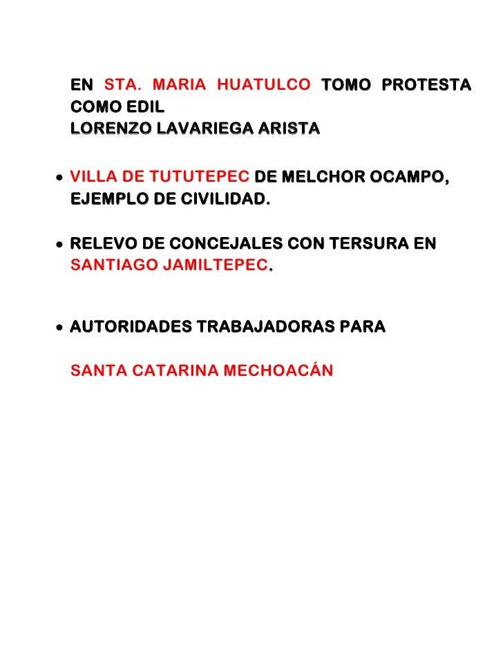 EN STA. MARIA HUATULCO TOMO PROTESTACOMO EDILLORENZO LAVARIEGA ARISTAVILLA DE TUTUTEPEC DE MELCHOR OCAMPO,EJEMPLO DE CIVIL...