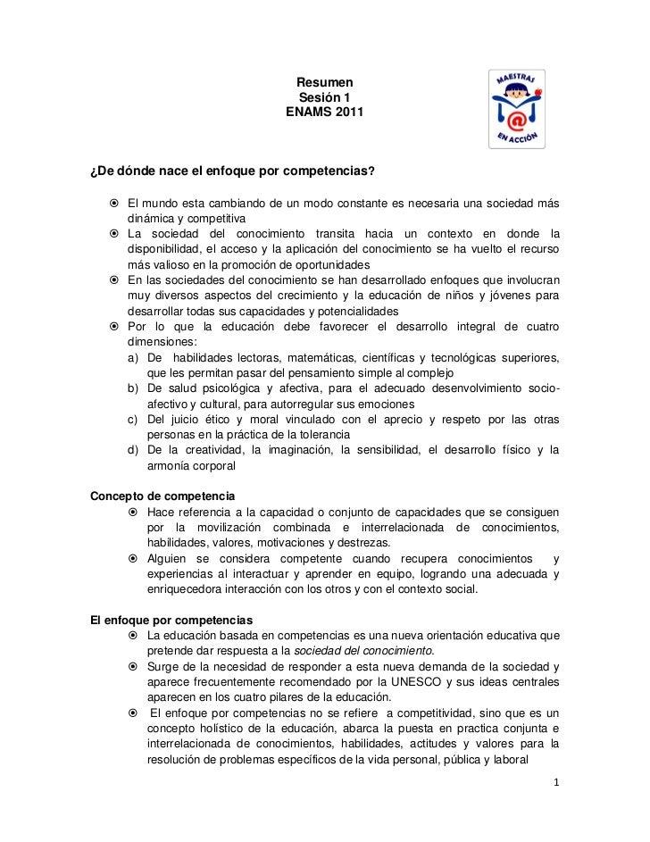Resumen de sesión 1Currículo basado en competencias: aproximación al estado de lacuestión (Garragorri)Actualidad de la cue...