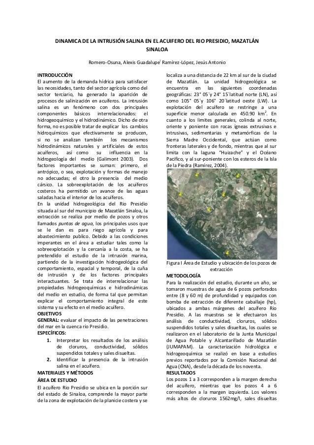 DINAMICA DE LA INTRUSIÓN SALINA EN EL ACUIFERO DEL RIO PRESIDIO, MAZATLÁN SINALOA
