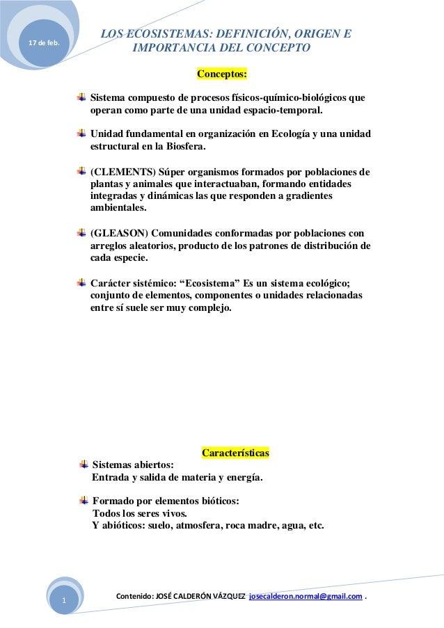 LOS ECOSISTEMAS: DEFINICIÓN, ORIGEN E17 de feb.                        IMPORTANCIA DEL CONCEPTO                           ...