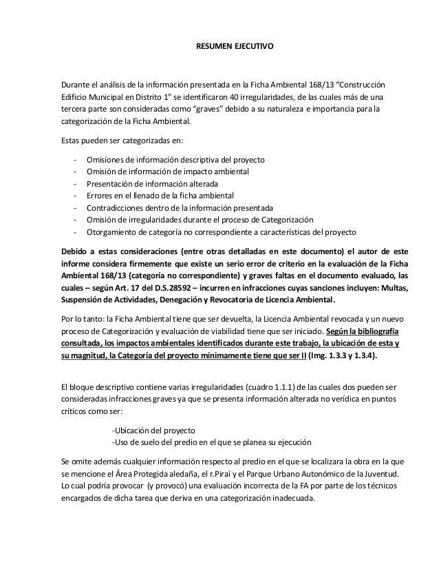 """RESUMEN EJECUTIVO  Durante el análisis de la información presentada en la Ficha Ambiental 168/13 """"Construcción Edificio Mu..."""