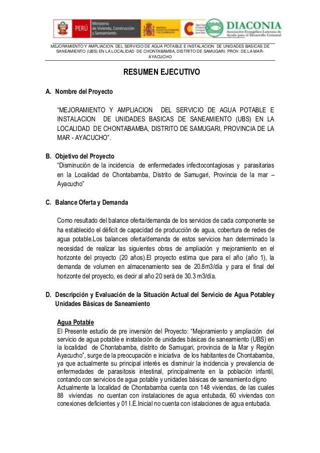 MEJORAMIENTO Y AMPLIACION DEL SERVICIO DE AGUA POTABLE E INSTALACION DE UNIDADES BASICAS DE SANEAMIENTO (UBS) EN LA LOCALI...