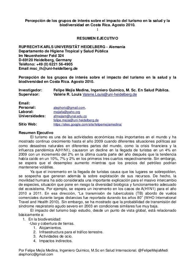 Percepción de los grupos de interés sobre el impacto del turismo en la Salud Pública. Agosto 2010. Resumen ejecutivo.