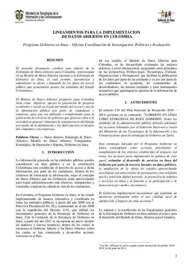 LINEAMIENTOS PARA LA IMPLEMENTACION                               DE DATOS ABIERTOS EN COLOMBIA     Programa Gobierno en l...