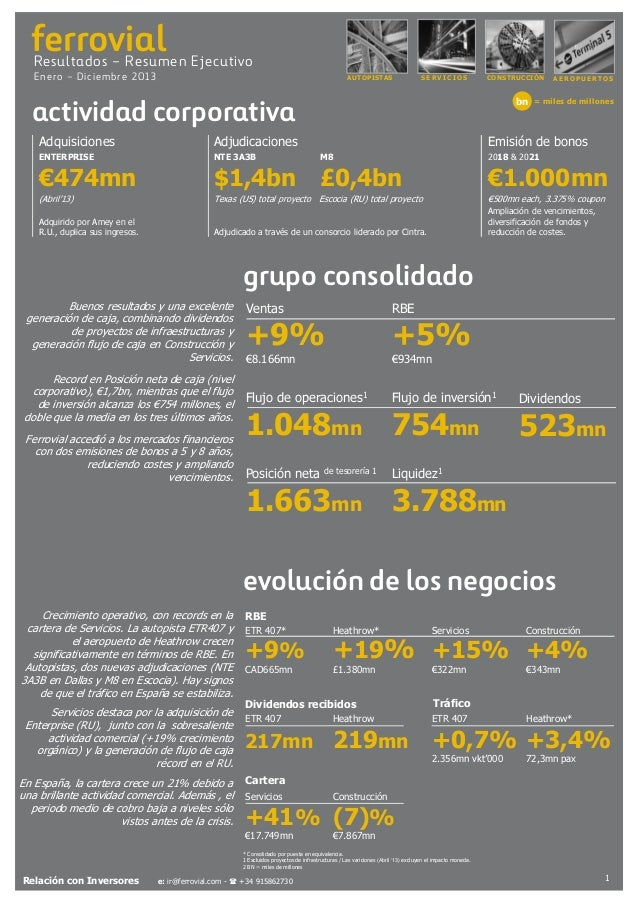Resumen Ejecutivo Ferrovial 2013