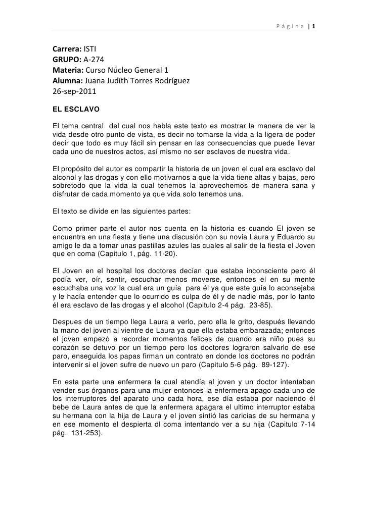 Carrera: ISTI  <br />GRUPO: A-274<br />Materia: Curso Núcleo General 1<br />Alumna: Juana Judith Torres Rodríguez<br />26-...