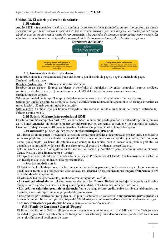 Operaciones Administrativas de Recursos Humanos 2º GADUnidad 08. El salario y el recibo de salarios    1. El salarioArt. 2...