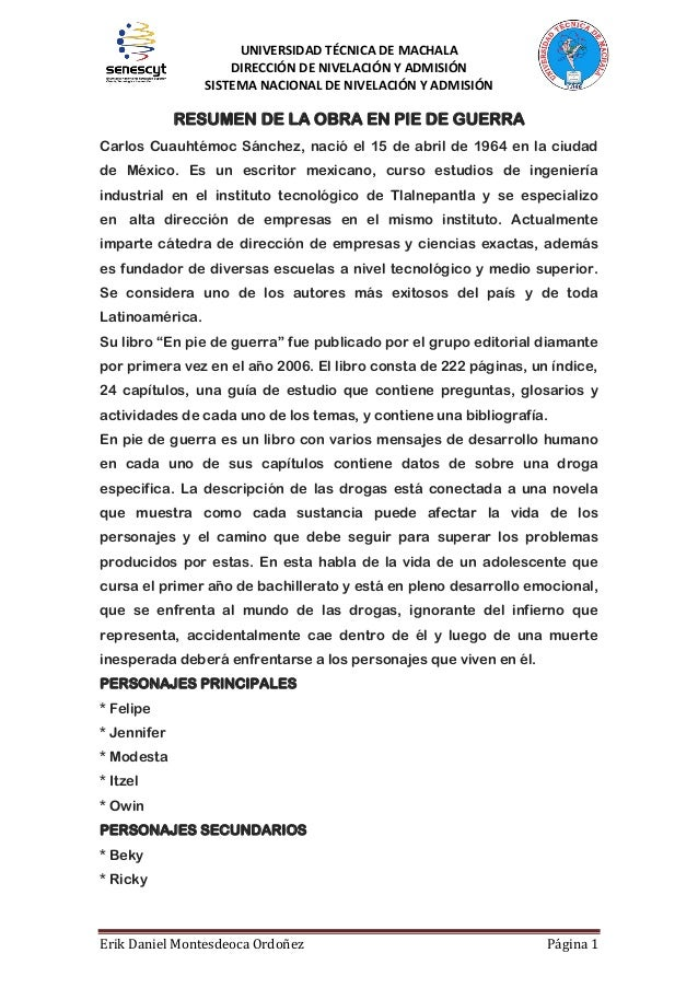 UNIVERSIDAD TÉCNICA DE MACHALA DIRECCIÓN DE NIVELACIÓN Y ADMISIÓN SISTEMA NACIONAL DE NIVELACIÓN Y ADMISIÓN  RESUMEN DE LA...