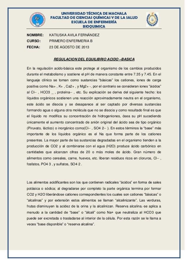 UNIVERSIDAD TÉCNICA DE MACHALA FACULTAD DE CIENCIAS QUÍMICAS Y DE LA SALUD ESCUELA DE ENFERMERÍA BIOQUIMICA NOMBRE: KATIUS...