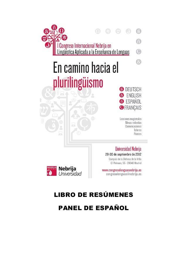 LIBRO DE RESÚMENESPANEL DE ESPAÑOL