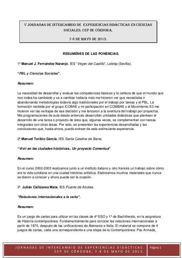 Resumenes ponencias V Jornadas de intercambio de experiencias en CC.SS. Córdoba, 7-8 de mayo de 2013.