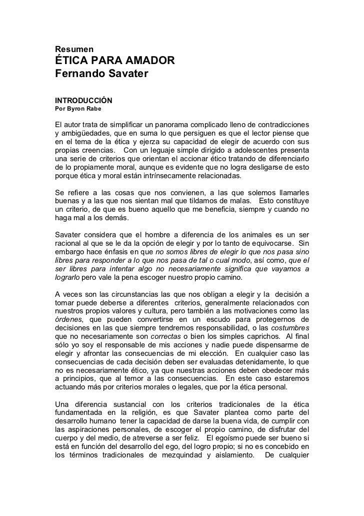 Ética para Amador (resumen)