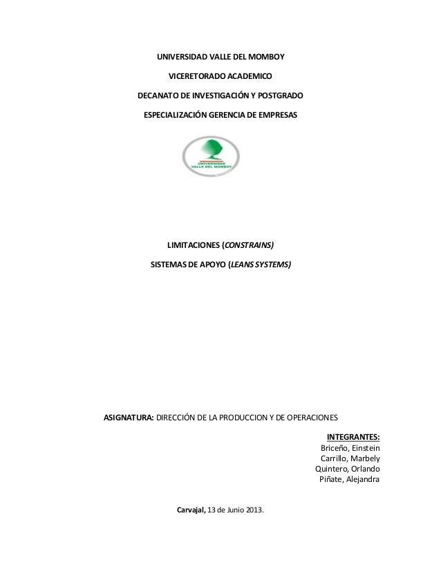 UNIVERSIDAD VALLE DEL MOMBOY VICERETORADO ACADEMICO DECANATO DE INVESTIGACIÓN Y POSTGRADO ESPECIALIZACIÓN GERENCIA DE EMPR...